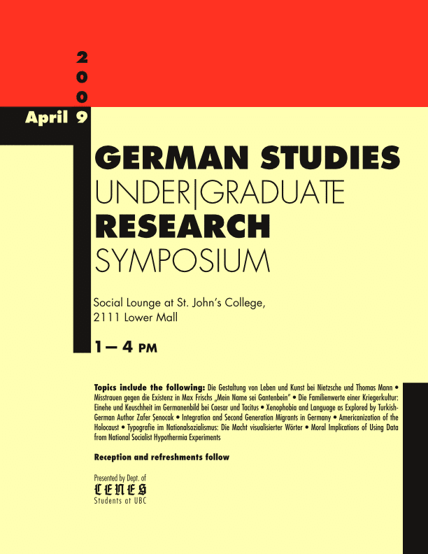 Event poster for 2009 German Studies Under/Graduate Research Symposium