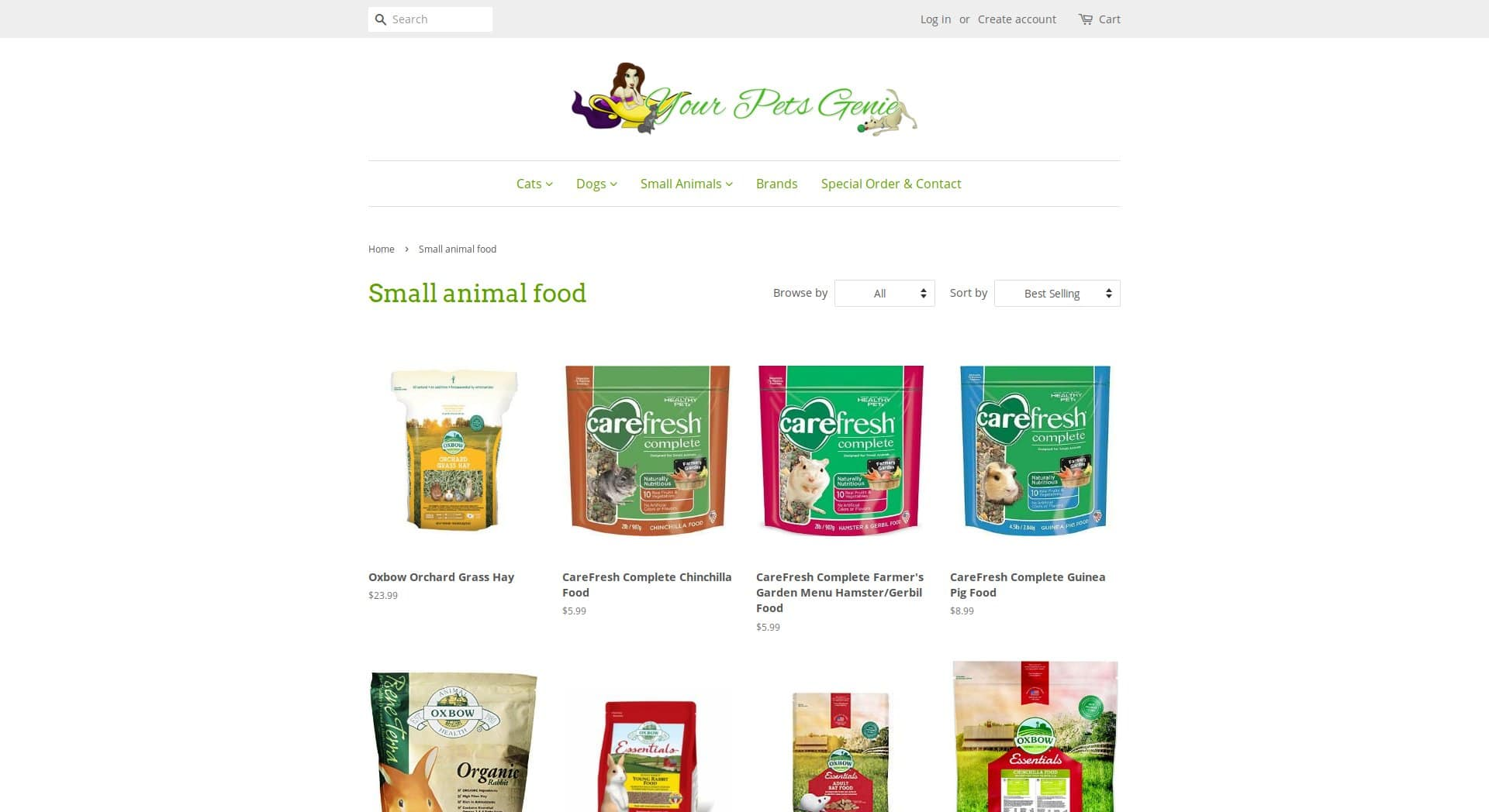 Website product selection