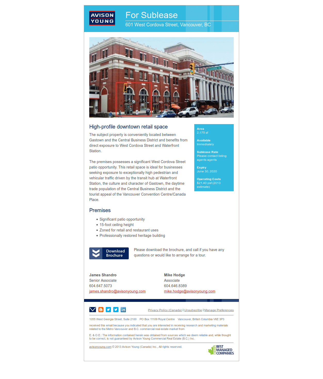 Email for a Vancouver retail opportunity