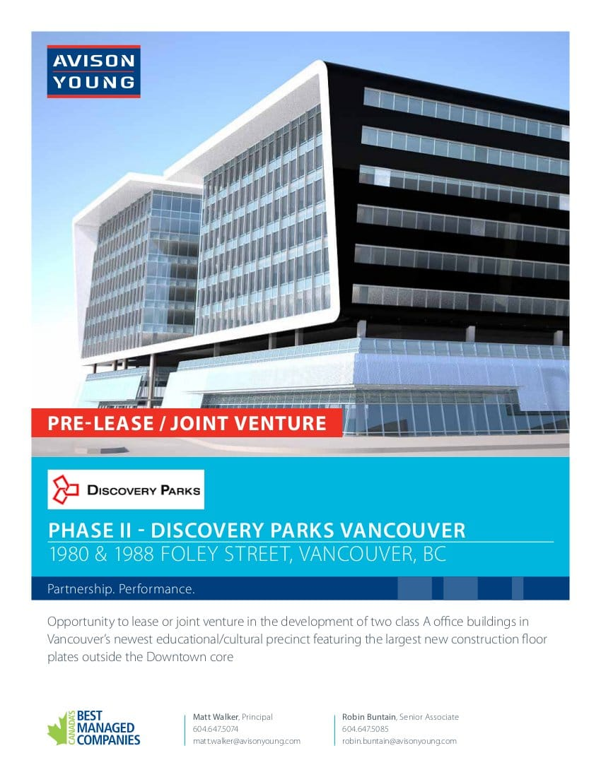 Brochure cover for a pre-lease opportunity