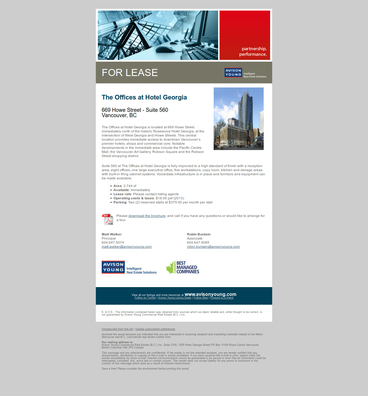 Email for a Vancouver office opportunity