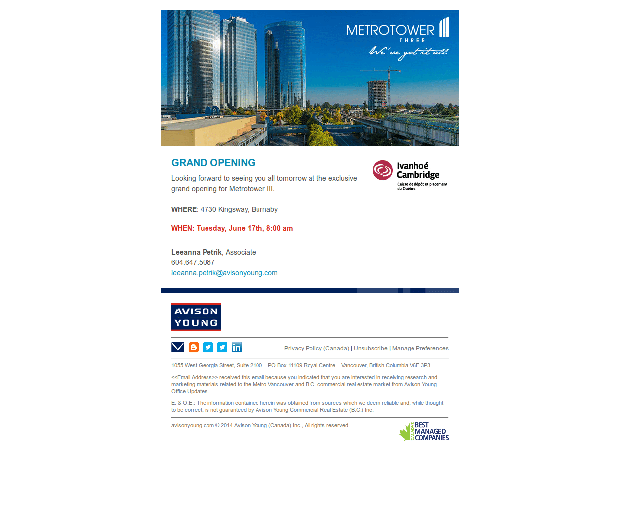 Email for a Burnaby office opportunity